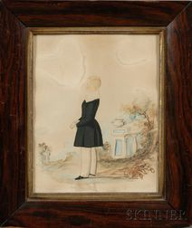 Lot of Two Works on Paper: W. Plummer (American, ac. Early 19th Century), Portrait of Young Joseph Fairchild Underwood Wearing a Bl...