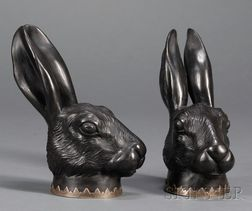 Pair of Wedgwood and Bentley Black Basalt Hare Head Stirrup Cups