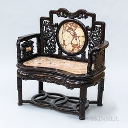 Chinese Carved Hardwood and Marble Settee