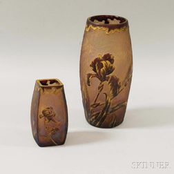 Two Val St. Lambert Cameo Glass Vases