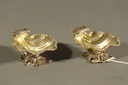 Harlequin Pair of George II/III Silver Shell-Form Salt Cellars