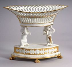 Paris Porcelain Parcel Gilt Centerpiece