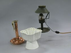 Tole Table Lamp, Copper Push-up Candlestick and a Pottery Pudding Mold.