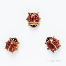 Three 14kt Gold and Enamel Ladybug Pins