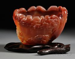 Agate Fishbowl with Wood Stand