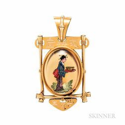 Tiffany & Co. Antique Gold and Reverse-painted Crystal Pendant