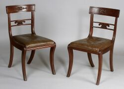 Set of Nine Regency Carved Mahogany Side Chairs