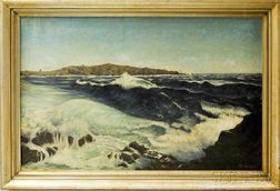 C.W. Van Ness (American, 20th Century)      Crashing Surf on a Rocky Coast.