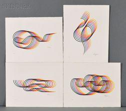 Yaacov Agam (Israeli, b. 1928)      Four Rainbow Designs.