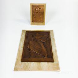 Two Paul Vincze Art Deco-style Bronze Plaques of Moses