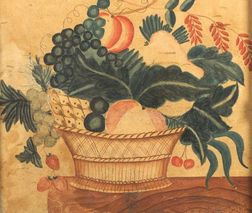 American School, 19th Century  A Theorem:  A Basket of Fruit on Top of a Marble Table.
