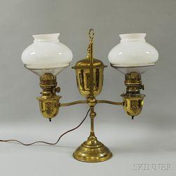 Edward Miller & Co. Duplex Brass Adjustable Double Student Lamp