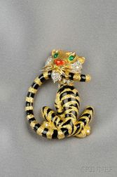 18kt Gold, Enamel, and Diamond Tiger Brooch, Cartier Inc.