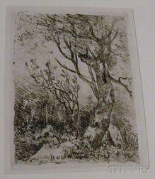 John Crome the Elder (British, 1768-1821) Nine Unframed Landscape Etchings: Deepham, near Hingham, Footbridge at Cringleford, Wicker...