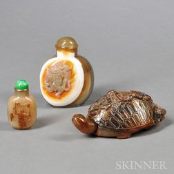 Three Agate Snuff Bottles