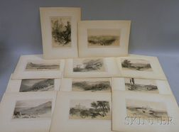 After Edward Lear (British, 1812-1888)      Eleven Lithographs from Illustrated Excursions in Italy
