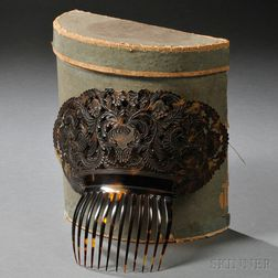 Pierced and Relief-carved Ornamental Lady's Tortoiseshell Comb in Original Box