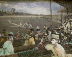 Walnut Framed Hand-colored Etched Resin 1888 Era Baseball Game Scene Plaque