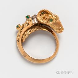 18kt Gold, Emerald, and Diamond Ram Ring