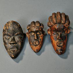 Three African Carved Wood Passport Masks