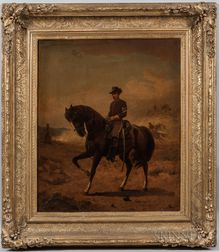 Thomas Buchanan Read (New York/Pennsylvania, 1822-1872)      Portrait of a U.S. Cavalry First Sergeant on Horseback