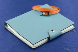 Orange Leather Bracelet and Blue Notebook, Hermes