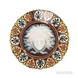 Antique Gold, Hardstone Cameo, and Enamel Brooch