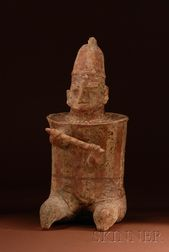 Pre-Columbian Painted Pottery Warrior Figure