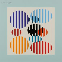 Yaacov Agam (Israeli, b. 1928)      Untitled (Striped Ovals)