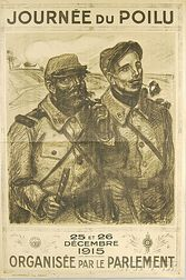 French Journée du Poilu   WWI Lithograph Poster