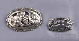 Two Sterling Silver Brooches, Georg Jensen