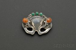 Silver, Amber and Malachite Brooch, Georg Jensen