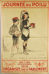 French Journée du Poilu   WWI Lithograph Poster