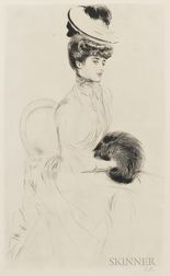 Paul César Helleu (French, 1859-1927)      Madame Anlis avec manchon assise
