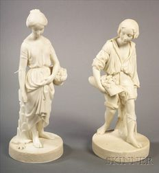 Pair of Copeland Parian Figures of Paul and Virginia