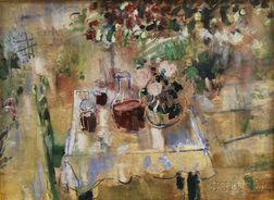 Karl Zerbe (American, 1903-1972)      Table Still Life in a Garden Setting.