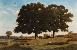 Alfred T. Ordway (American, 1819-1897)    Cows Beneath Trees