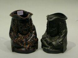 Two Wedgwood Elihu Yale Black Basalt and Rockingham Glazed Toby Jugs.