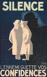 Paul Colin (French, 1892-1985)      Silence l'ennemi guette vos confidences