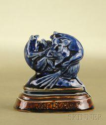 Whimsical Doulton Lambeth Blue Salt-glaze Figural Group