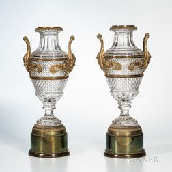 Pair of Gilt-bronze-mounted Crystal Urns on Drum Bases