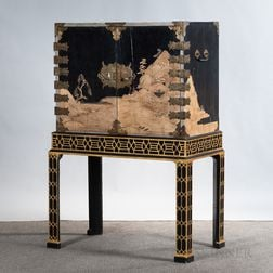 Japanese Export Metal-mounted Black Lacquer and Gilt Cabinet on Stand