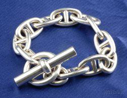 Sterling Silver Anchor Chain Bracelet, Hermes, Paris