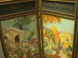 1920s Woodworth Perfumer Folding Gilt Oak and Polychrome Screened Three-Panel Retail Display