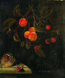 Dutch School, 17th Century Style    Still Life With Butterfly, Peaches, Cherries and Chestnut