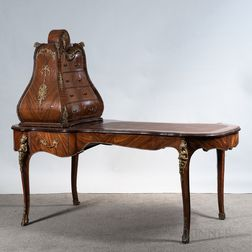 Louis XV-style Inlaid and Ormolu-mounted Kingwood Desk with Cabinet