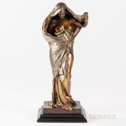 After Louis-Ernest Barrias (French, 1841-1905)       Bronze Figure of a Maiden, Nature Unveiling Herself Before Scirence