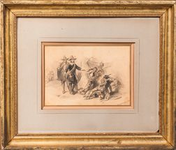 Watercolor Depicting the First Contact Between Europeans and American Indians