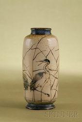 Martin Brothers Glazed Stoneware Riverscape Mantel Vase