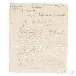 Barbé-Marbois, François (1745-1837) Letter Signed, 7 September 1803.